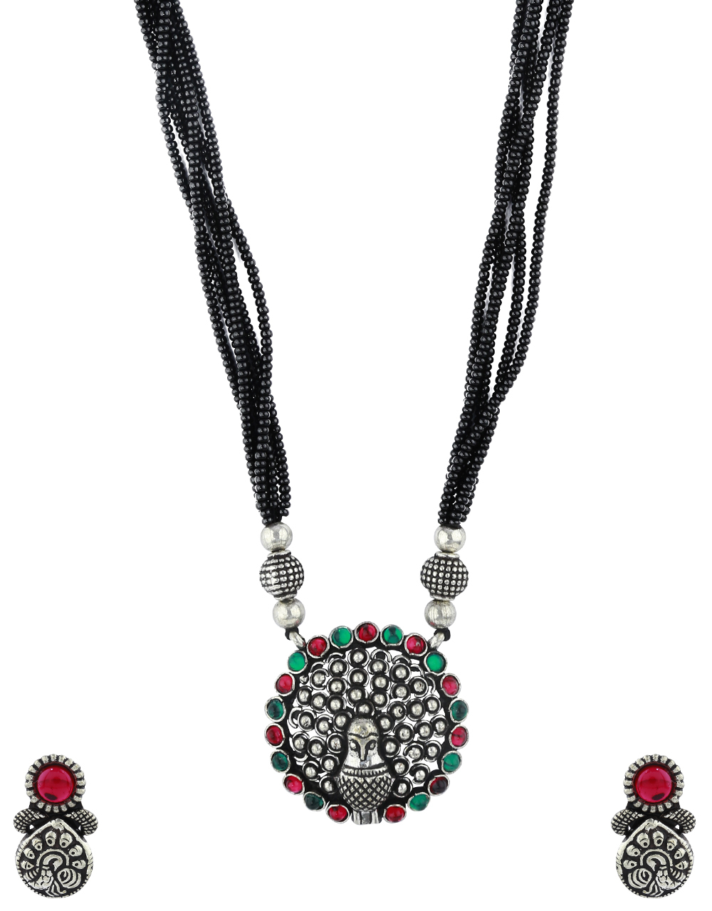 Peacock Design Pink-Green Stone Studded Short Oxidised Mangalsutra