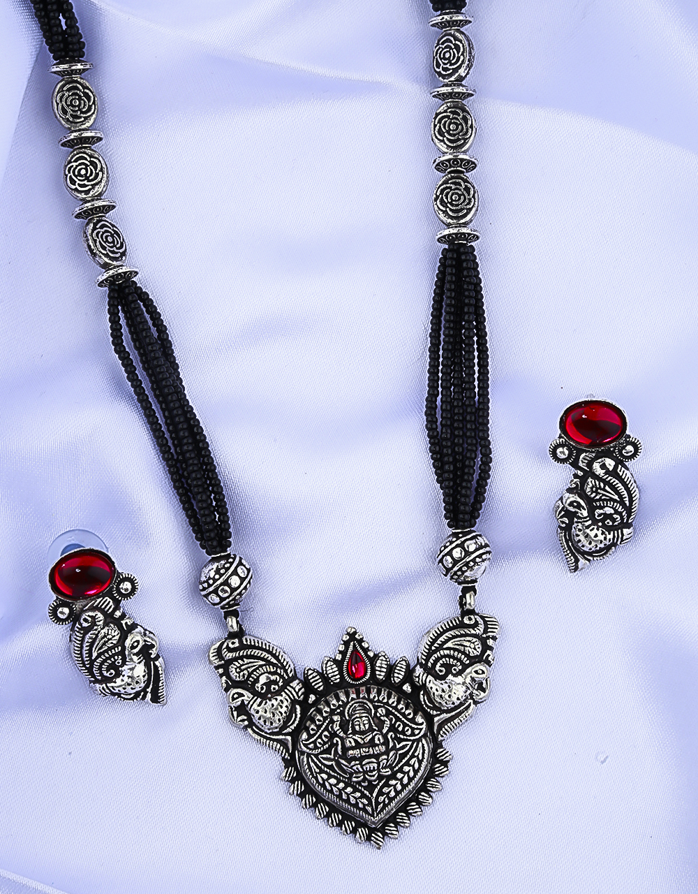 Temple Design Beautiful Oxidised Long Mangalsutra for Women