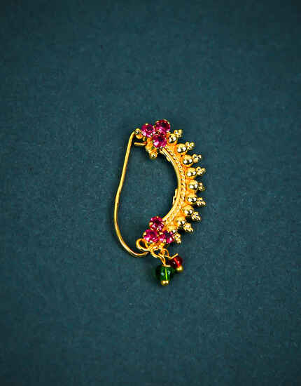 Gold Plated Designer Pink Stone Studded Adorable Maharashtrian Clip on Nath
