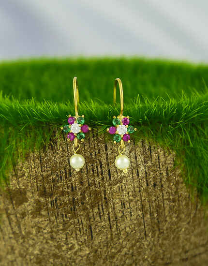Pink-Green Colour Sparkling Bugadi Earrings for Women