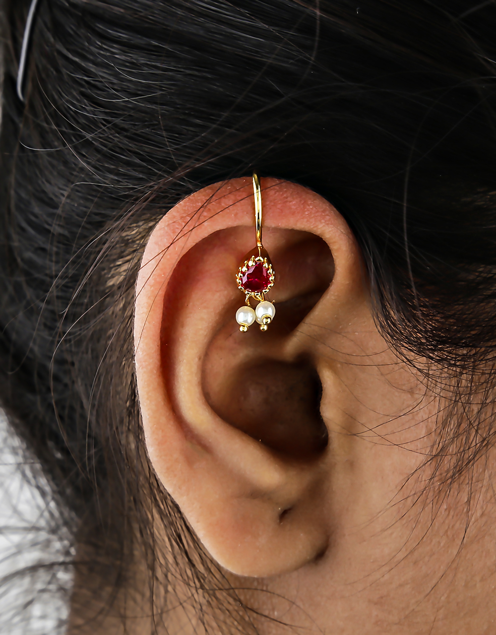 Pink Colour Droplet Shape Sparkling Bugadi Earrings for Women