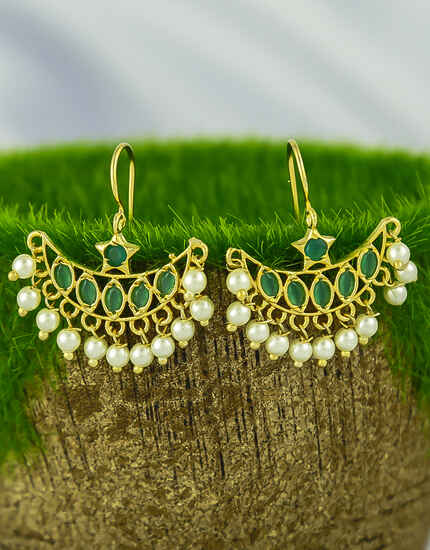 Green Colour Sparkling Bugadi Earrings with  Pearl Droplet