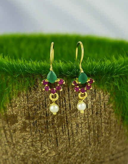 Pink-Green Colour Sparkling Stone Studded Bugadi Earrings