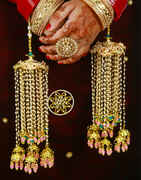 Enamel  Work Royal Look Punjabi Kalire With Hanging Droplets