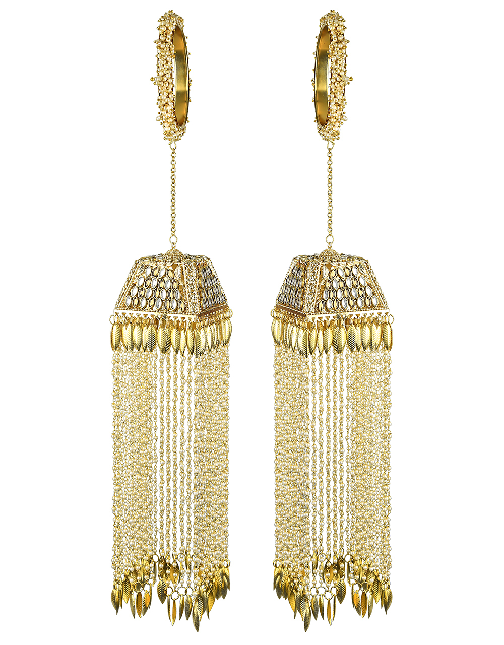 Royal Look Appealing Punjabi Kalire with Hanging Pearl Strings with Droplet