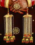 Designer Enamel Work Kalira with Red Bead Droplets for Bride