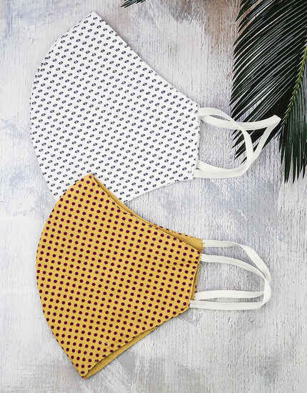 Golden-White Colour Simple Printed Facemask Combo for Women
