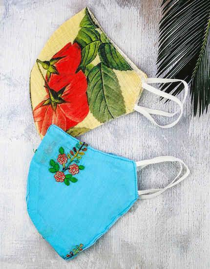 Blue-Multi Colour Designer Facemask for Women