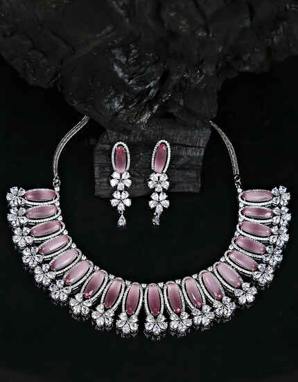 Pink Colour Designer American Diamond Studded Party Wear Necklace for Women