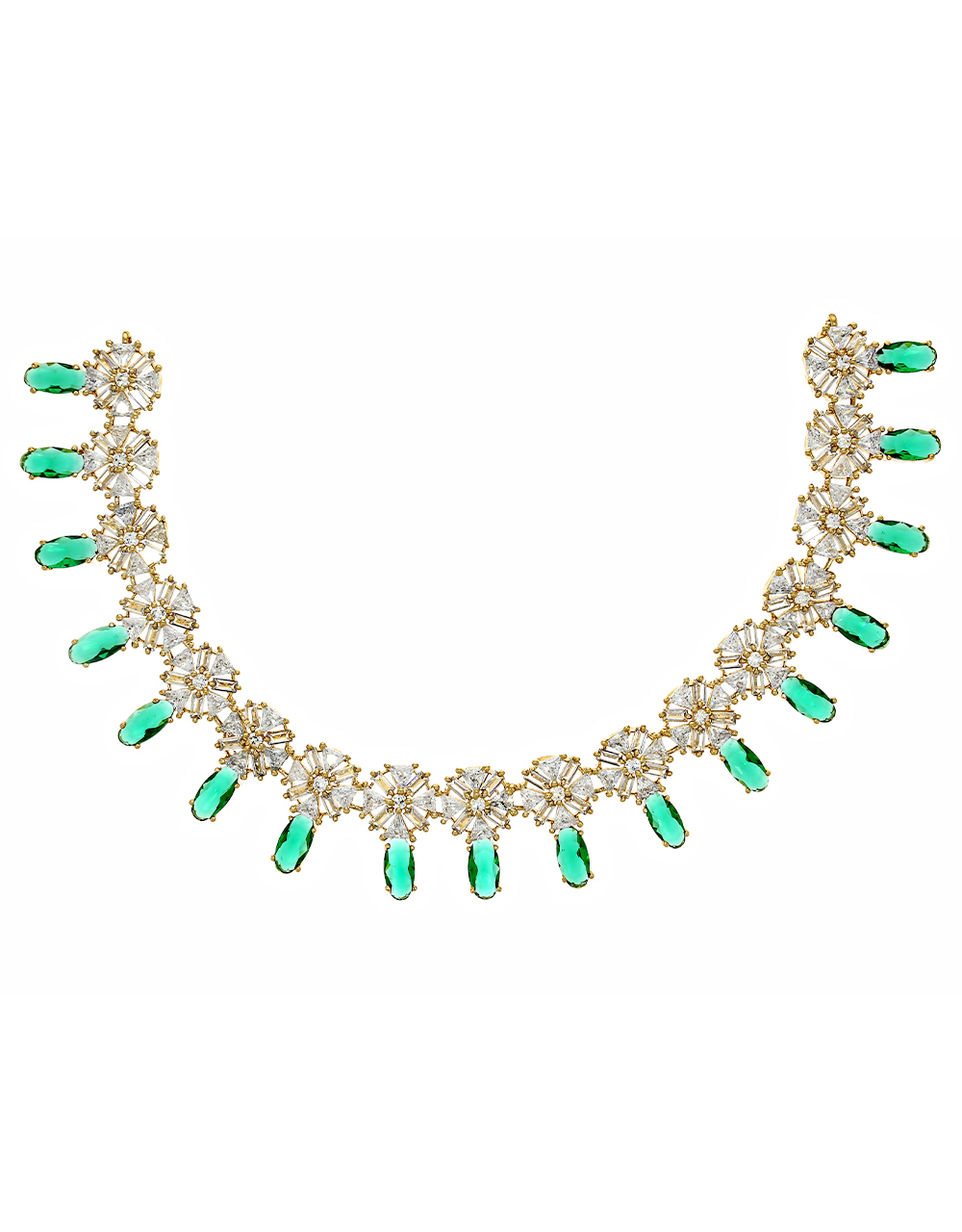 Green Colour Diamond Studded Necklace for Women