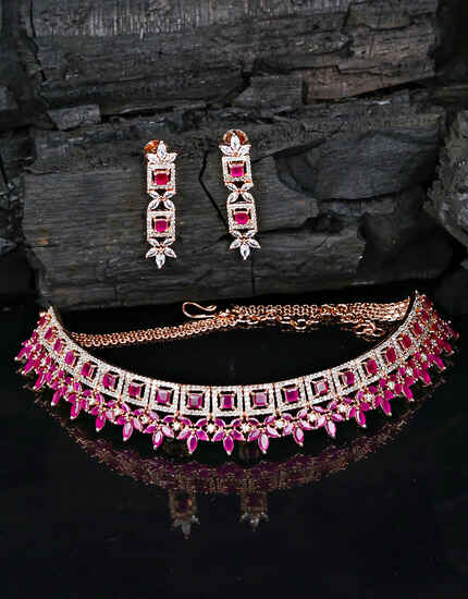 Pink Colour Rose-Gold Polish Diamond Studded Choker Necklace for Women