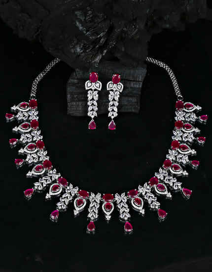 Silver Finish Pink Colour Designer American Diamond Necklace for Women