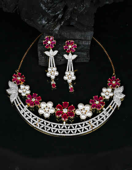 Dazzling Pink Colour Foral Design Diamond Studded Necklace for Women