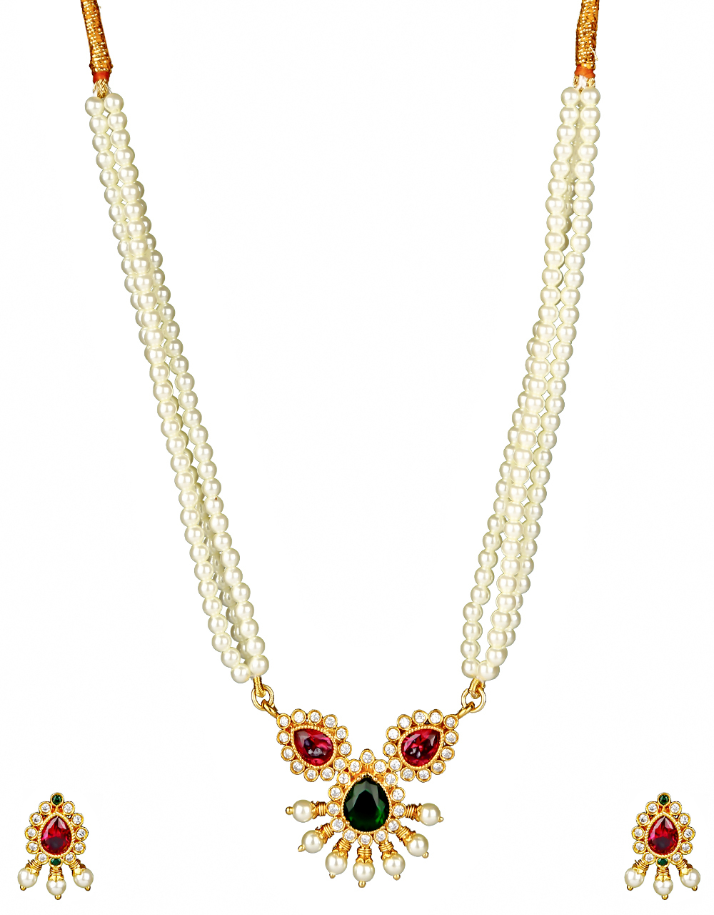 Pink-Green Colour Dazzling Diamond Studded Short Necklace for Women