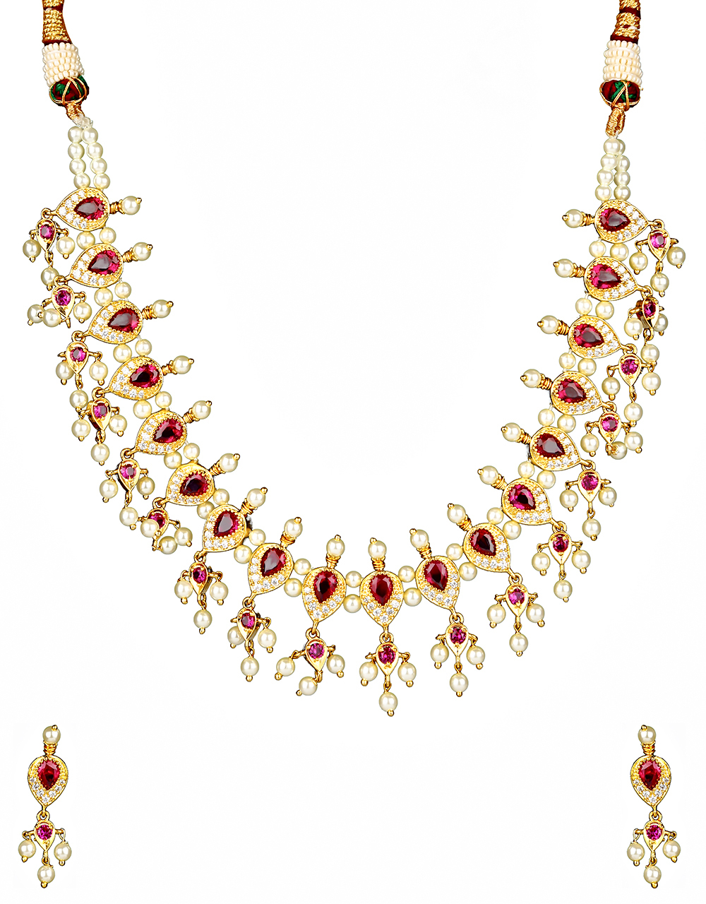 Pink Colour Dazzling Maharashtrian Style Necklace for Women