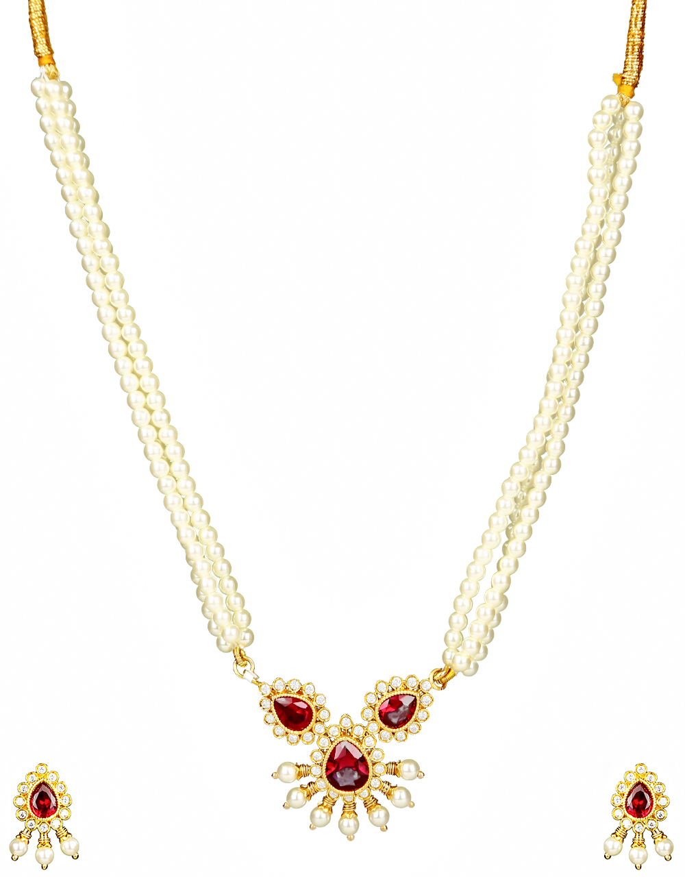 Pink Colour Adorable Diamond Studded Moti Necklace for Women