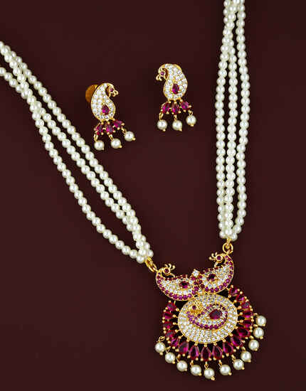 Pink Colour Peacock Inspired Fancy Moti Necklace for Women