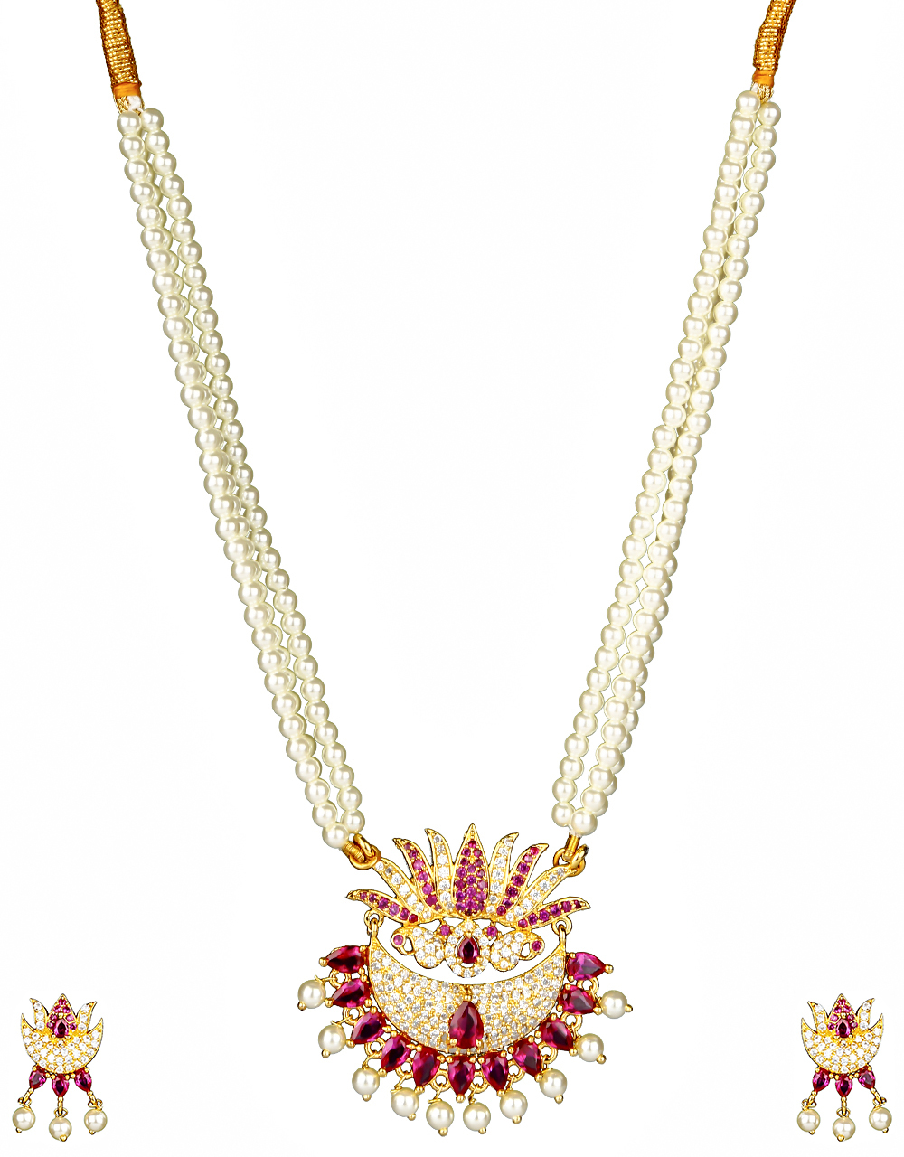 Pink Colour Lotus Flower Inspired Designer Pearl Necklace for Women