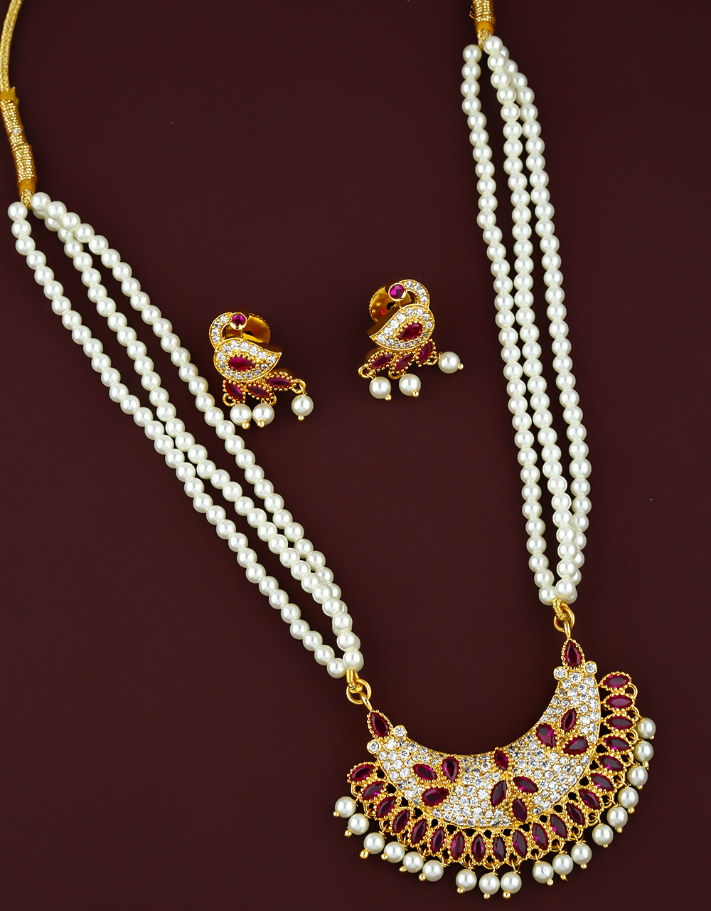 Pink Colour Beautiful Tanmani Necklace Set for Women
