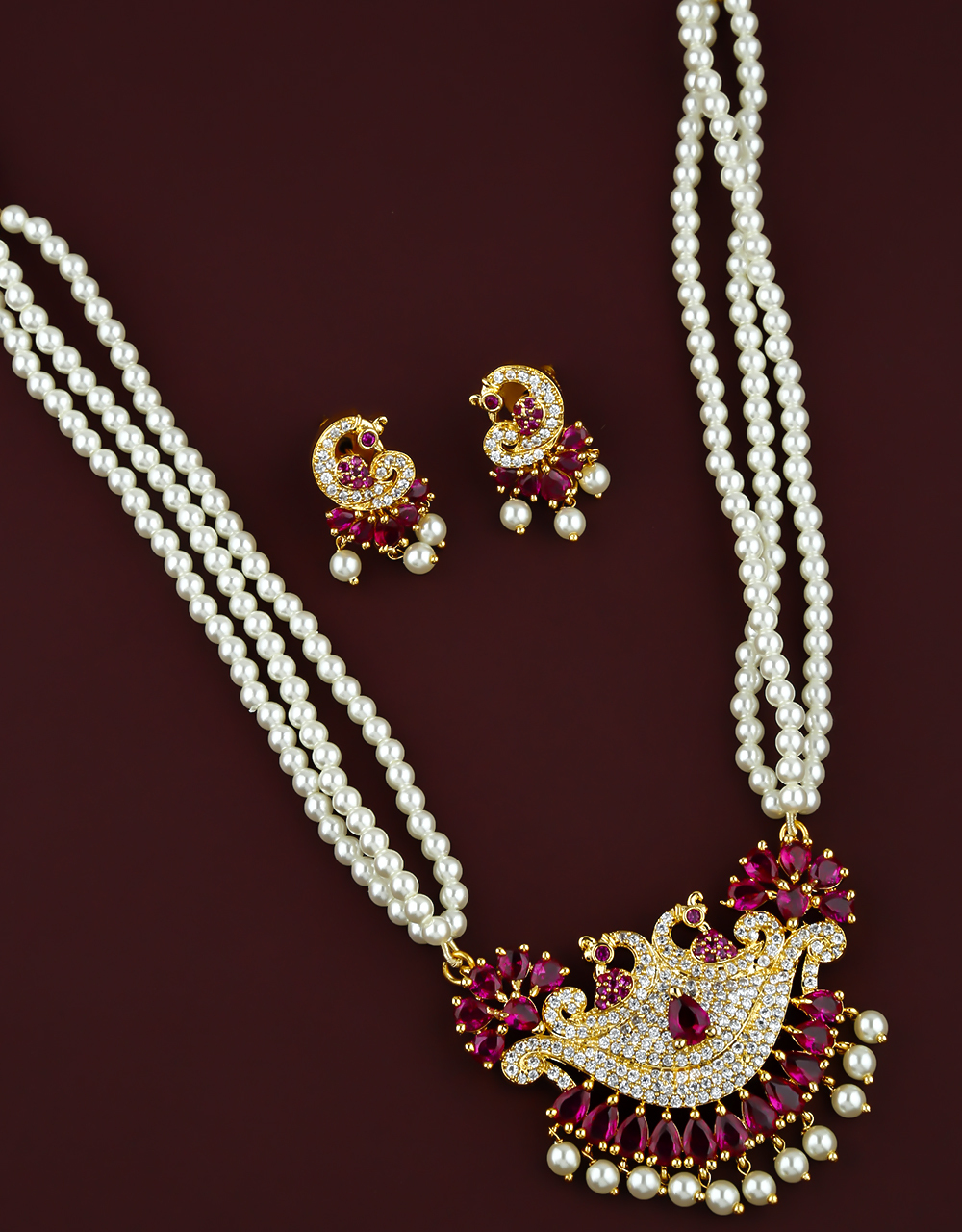 Pink Colour Peacock Inspired Pearl Necklace for Women