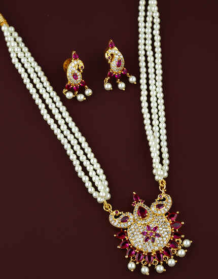 Pink Colour Peacock Design Beautiful Moti Necklace for Women