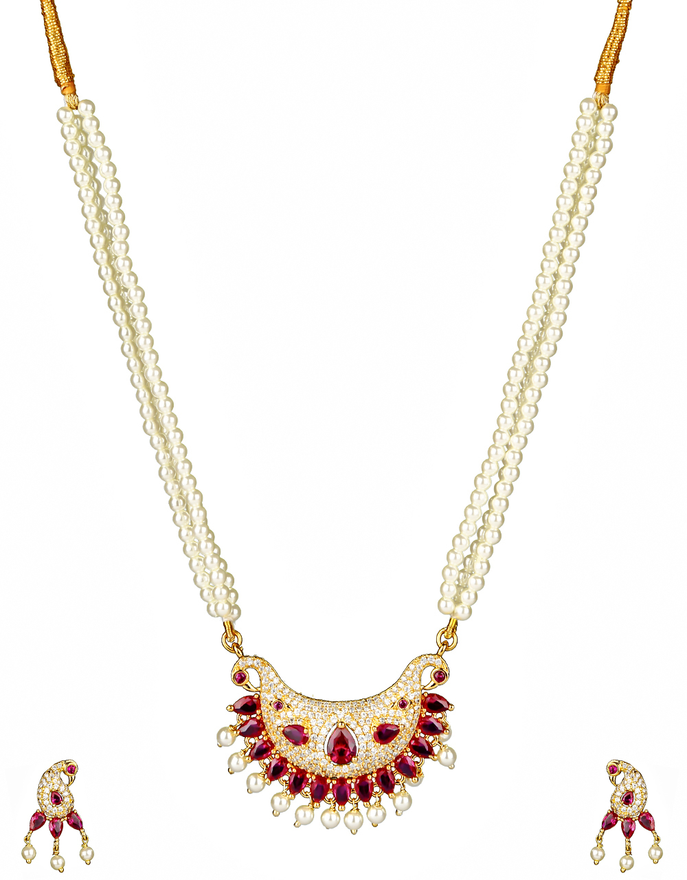 Pink Colour Designer Peacock Styled Necklace with Moti Droplet