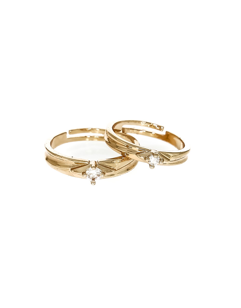 Rose Gold Finish Adorable Couple Rings