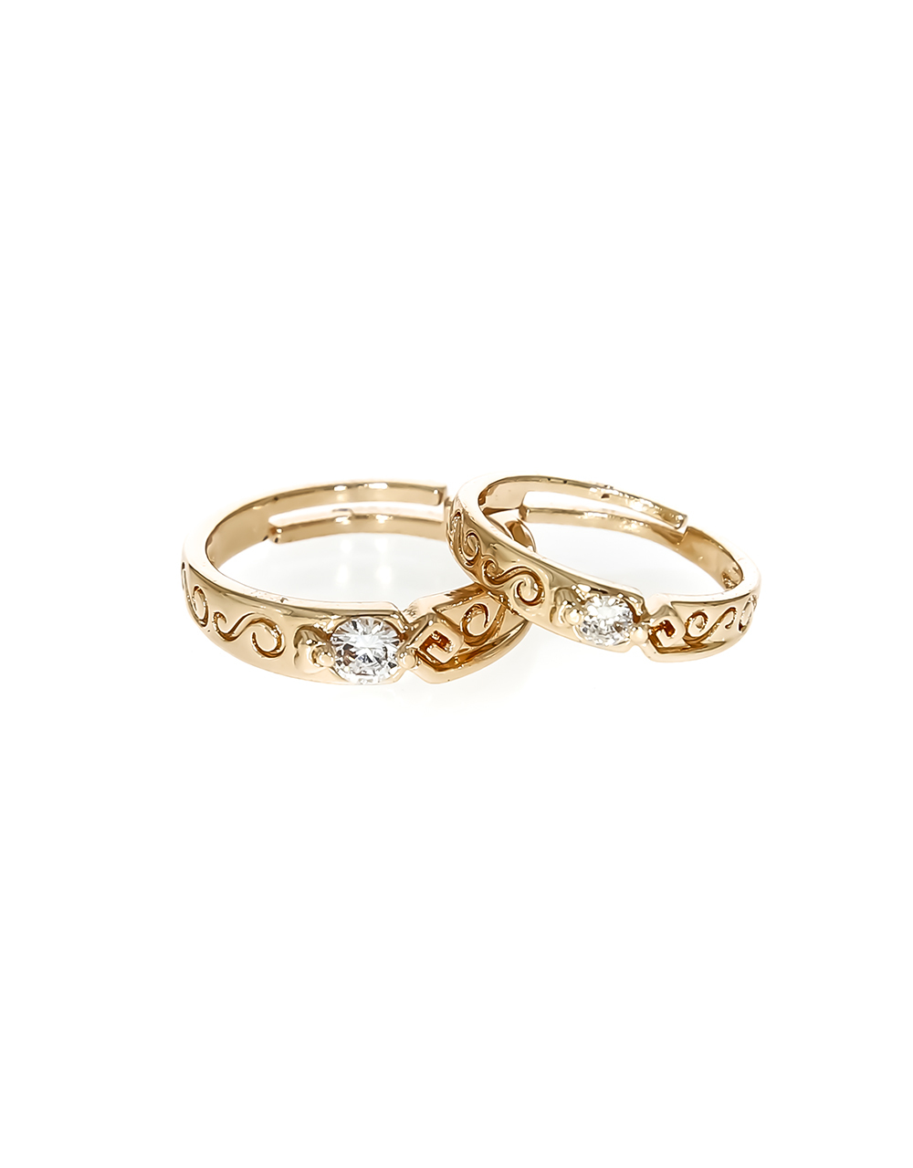 Appealing Rose Gold Finish Couple Ring for Girls