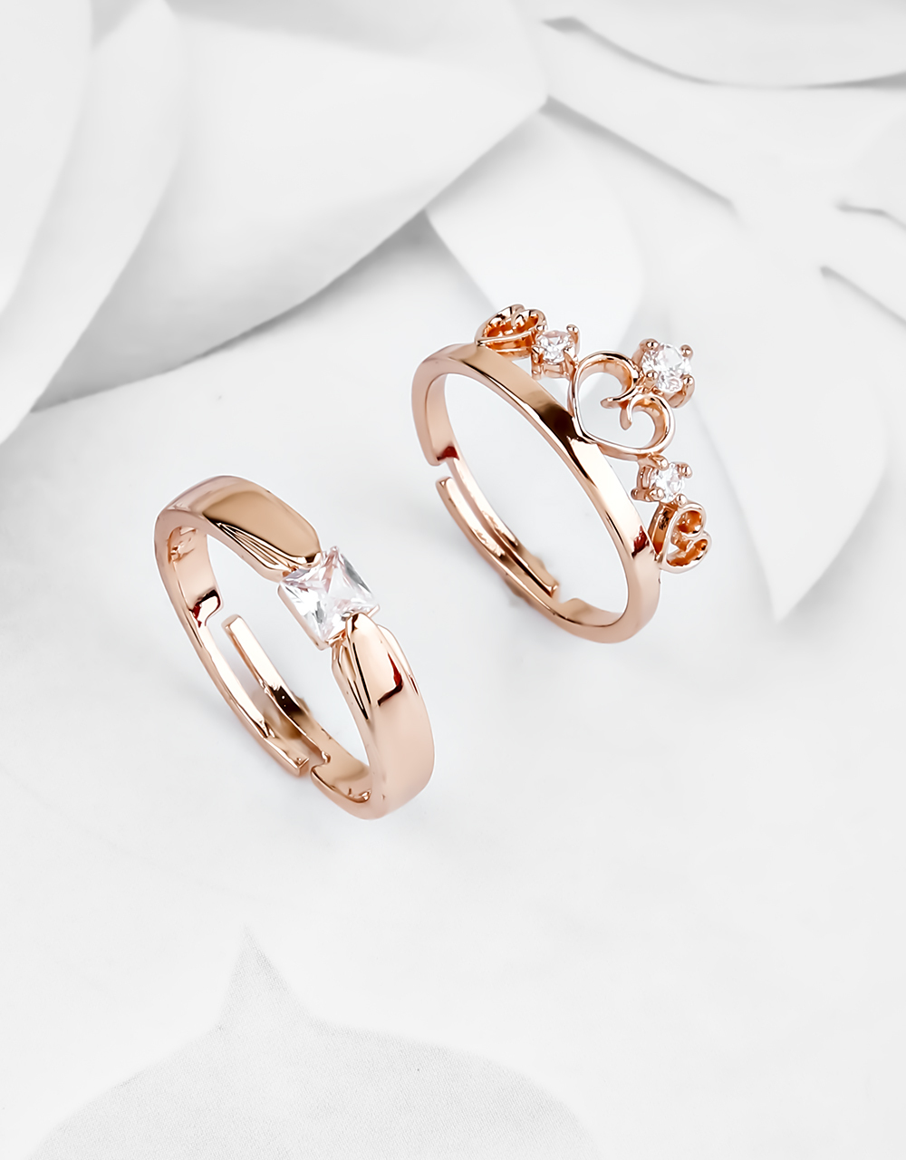 Rose Gold Finish American Diamond Studded Couple Ring