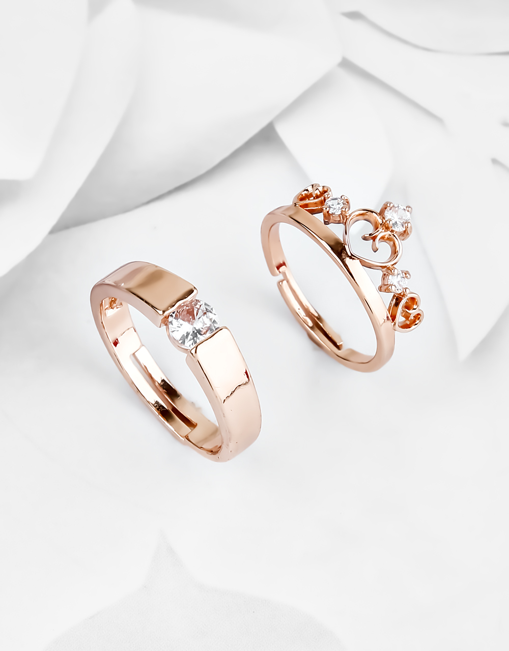 Stylish Kind & Queen Style Stone Studded Couple Rings