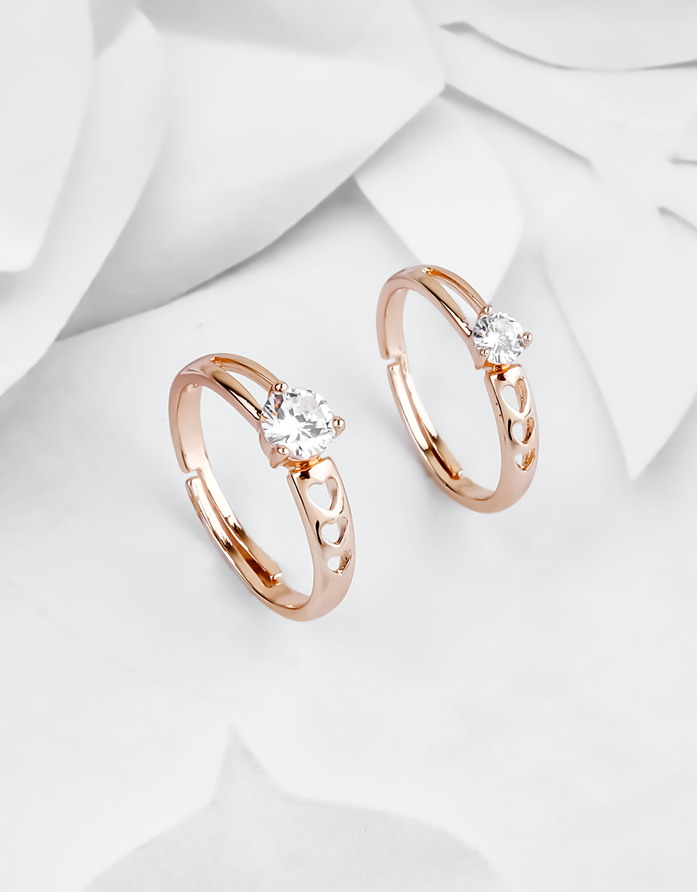 Rose Gold Finish Solitaire Stone Couple Rings