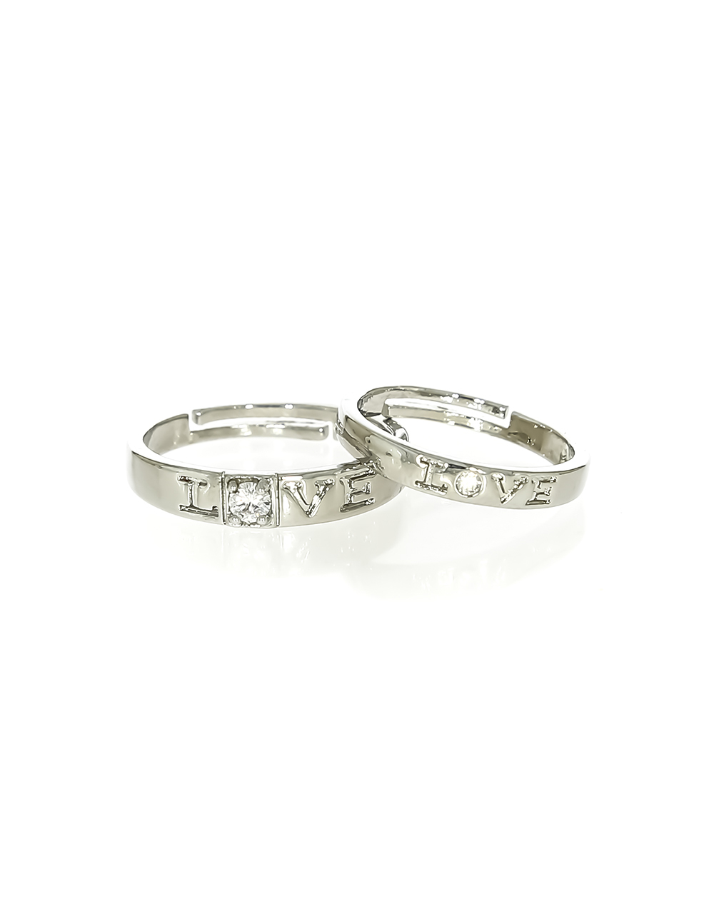 Silver Finish Stylish Couple Rings for Men & Women