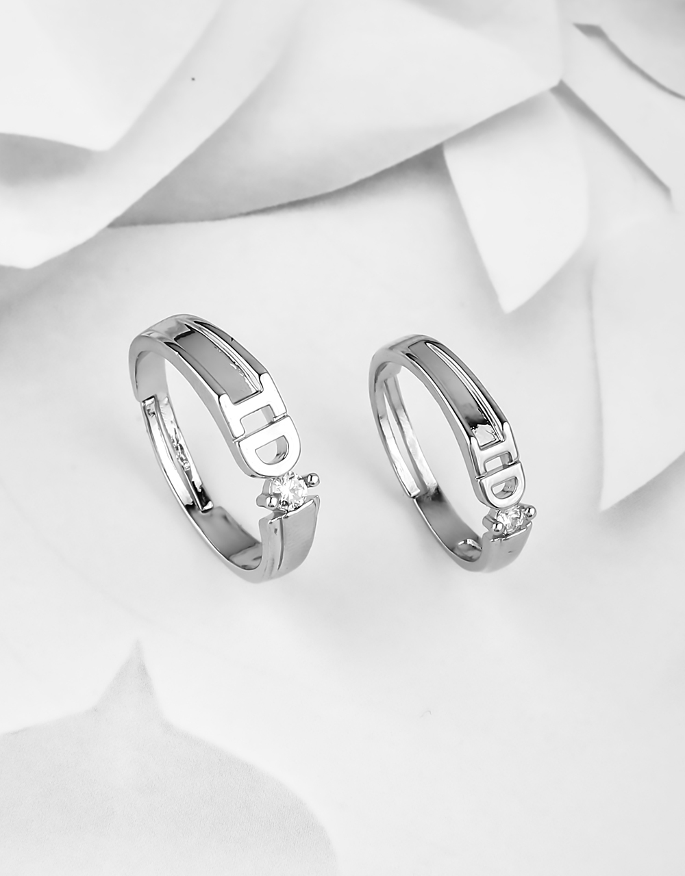 Silver Polish Appealing Stainless Steel Rings for Couples