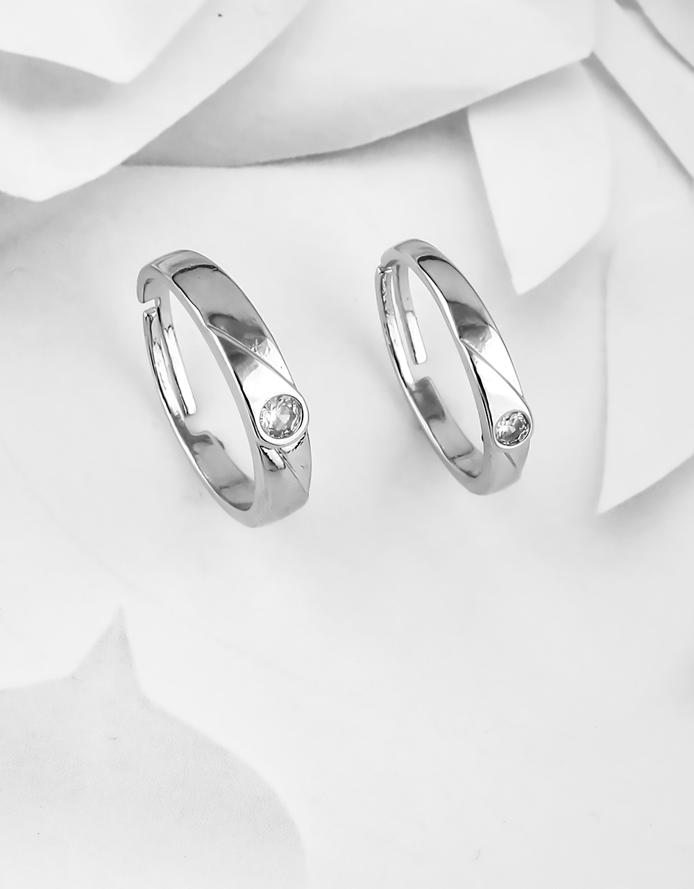 Silver Finish Designer Stainless Steel Couple Rings
