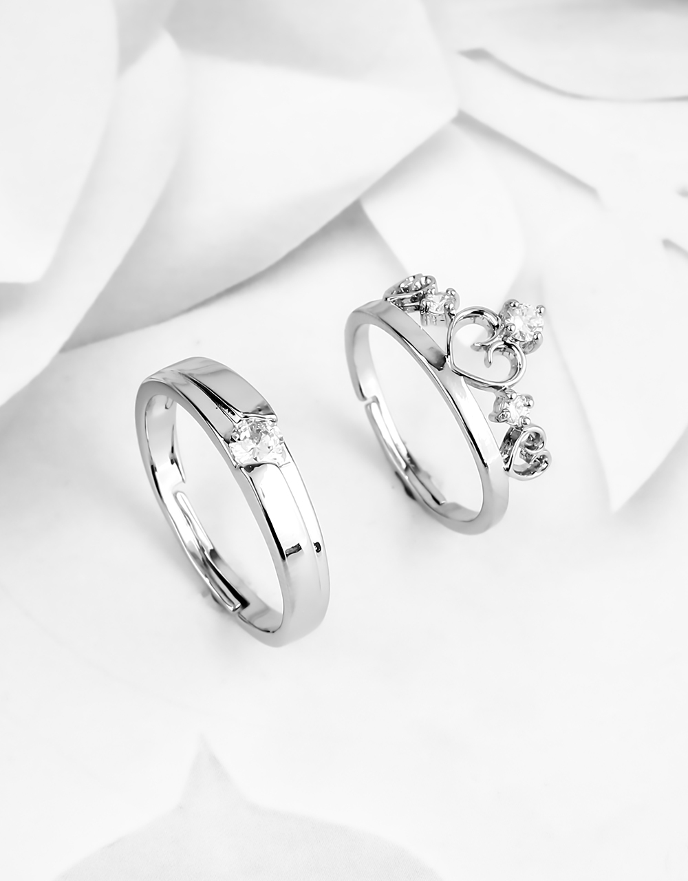 Silver Finish Designer Couple Rings