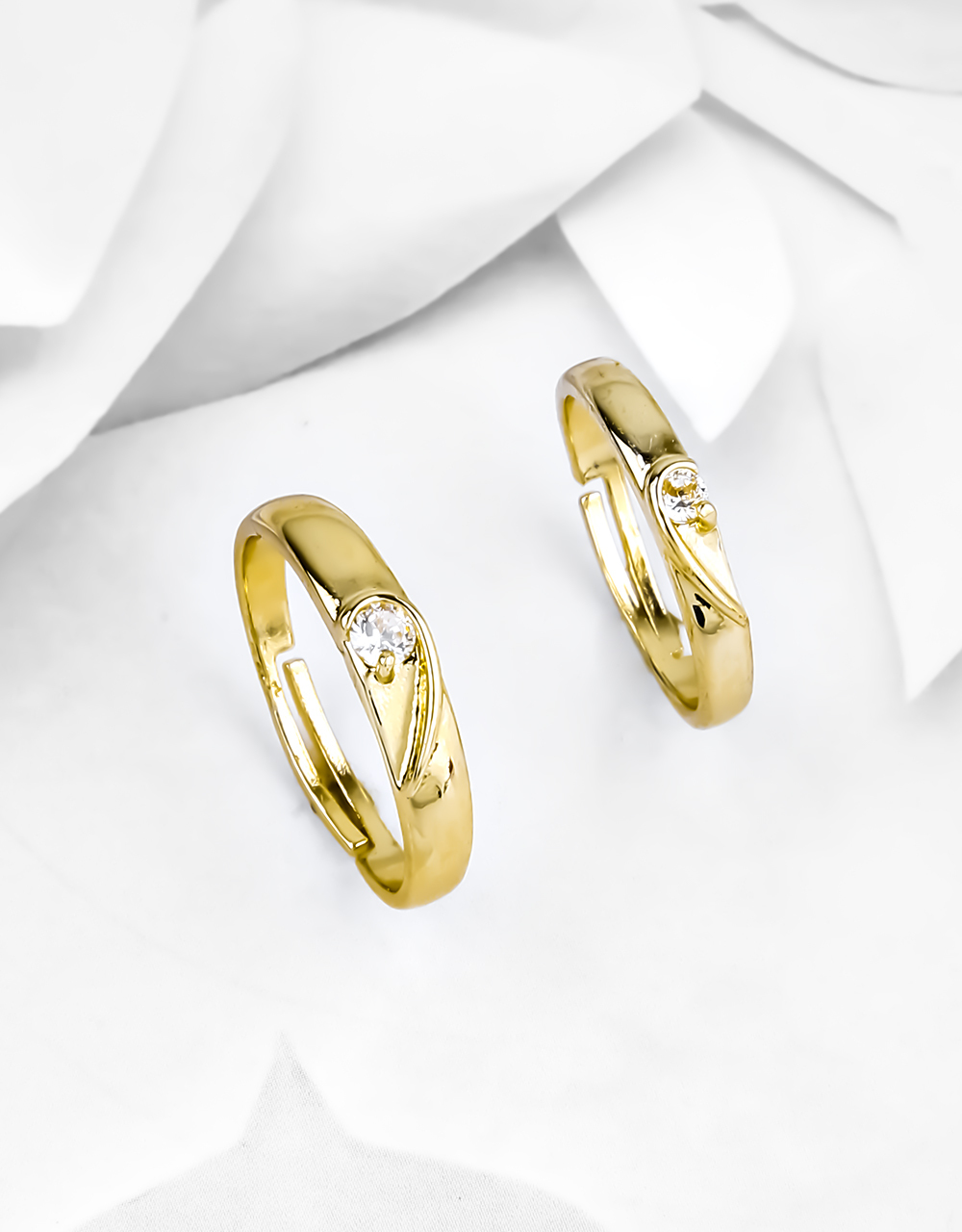 Designer Gold Finish Adorable Couple Rings