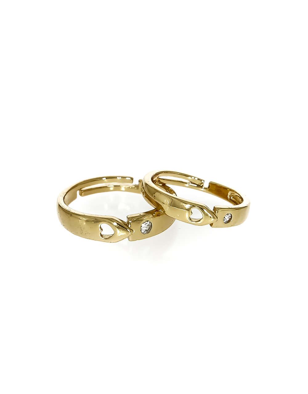 Gold Finish Designer Couple Rings Embedded with Diamond