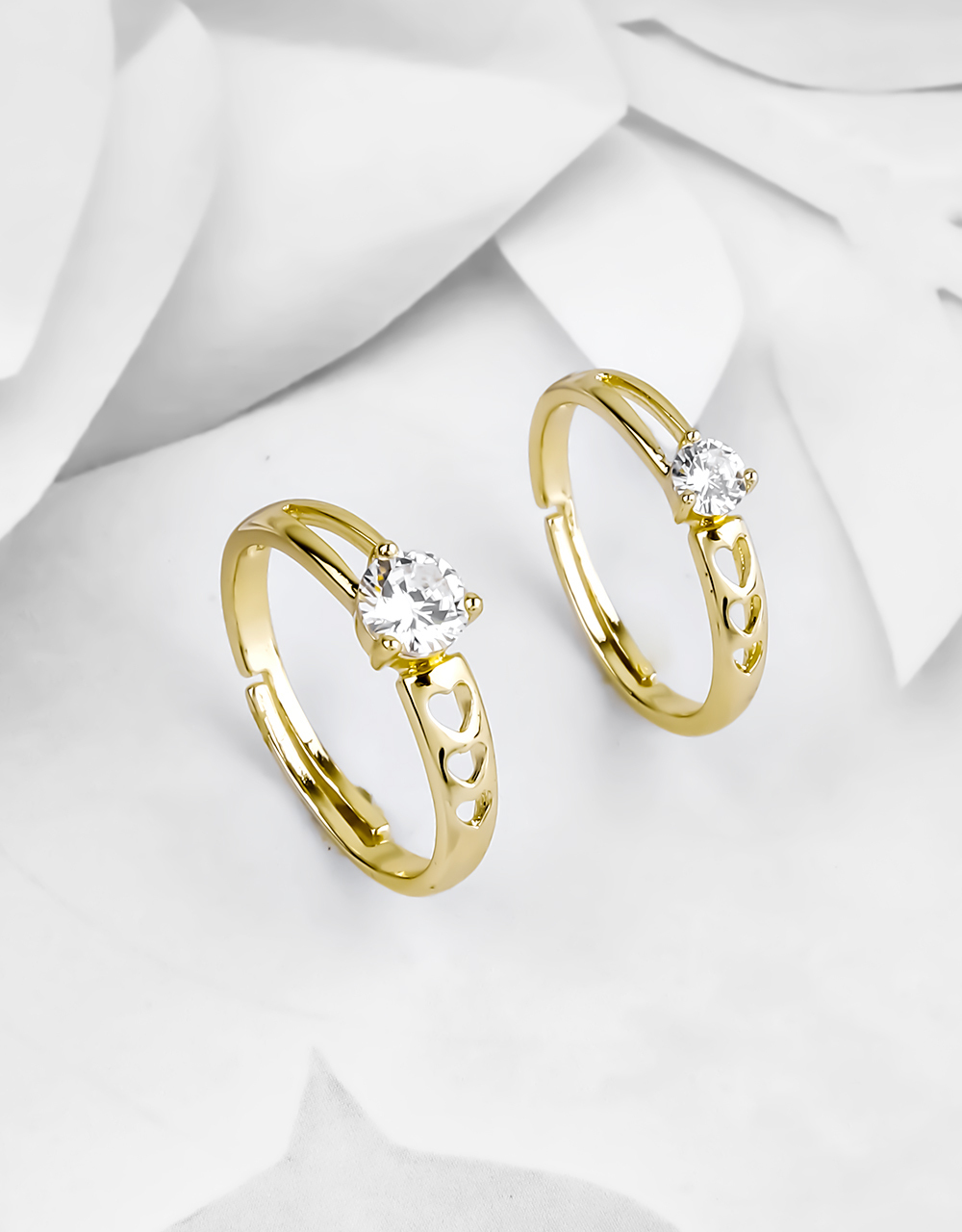 Gold Plating American Diamond Solitaire Couple Rings