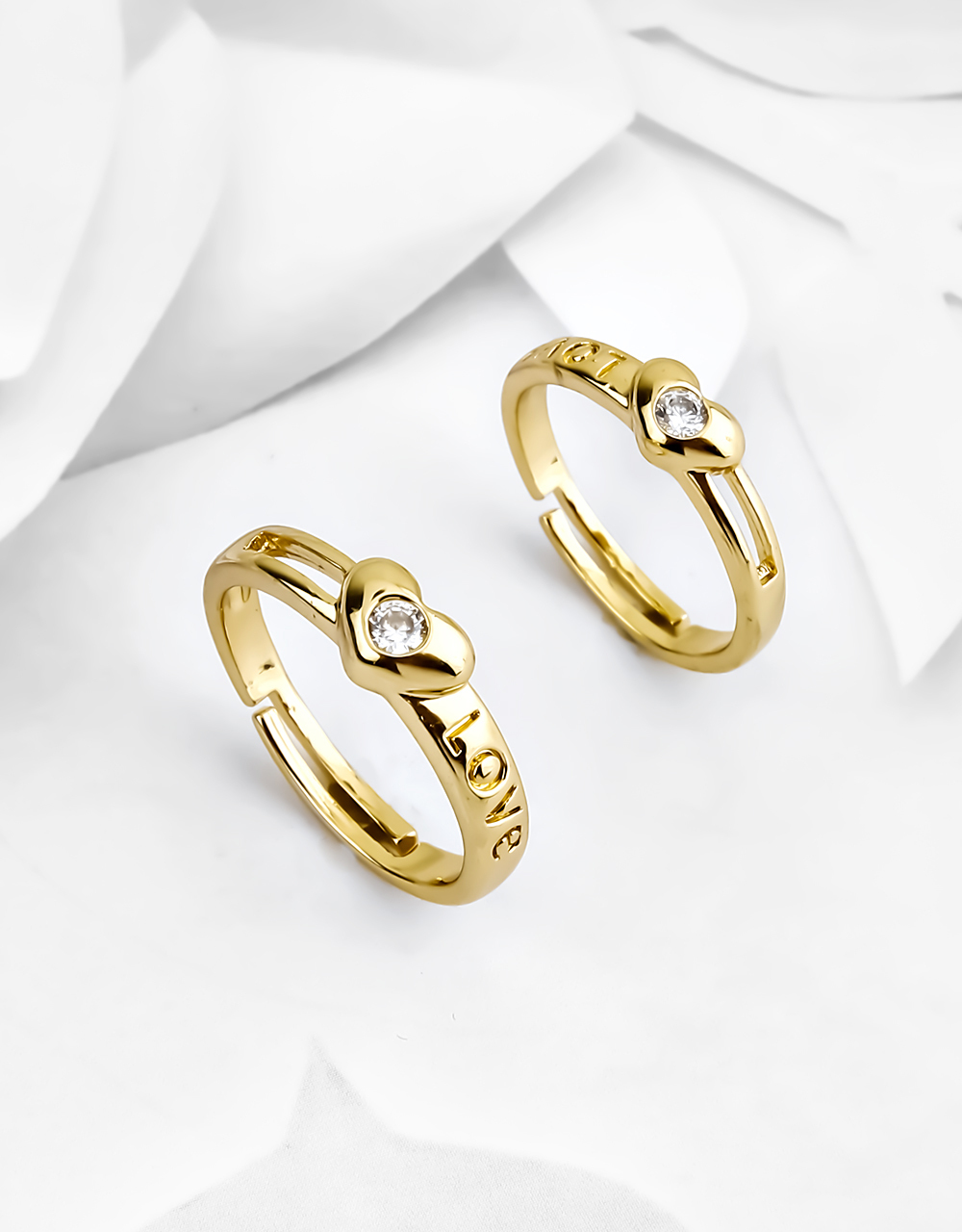 Gold Plated Heart Shape Beautiful Couple Rings