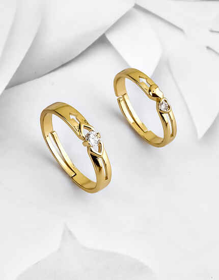 Stylish Gold Finish Couple Rings Embedded with Sparkling Stones