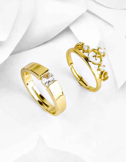 Gold Finish King & Queen Style Diamond Studded Couple Rings