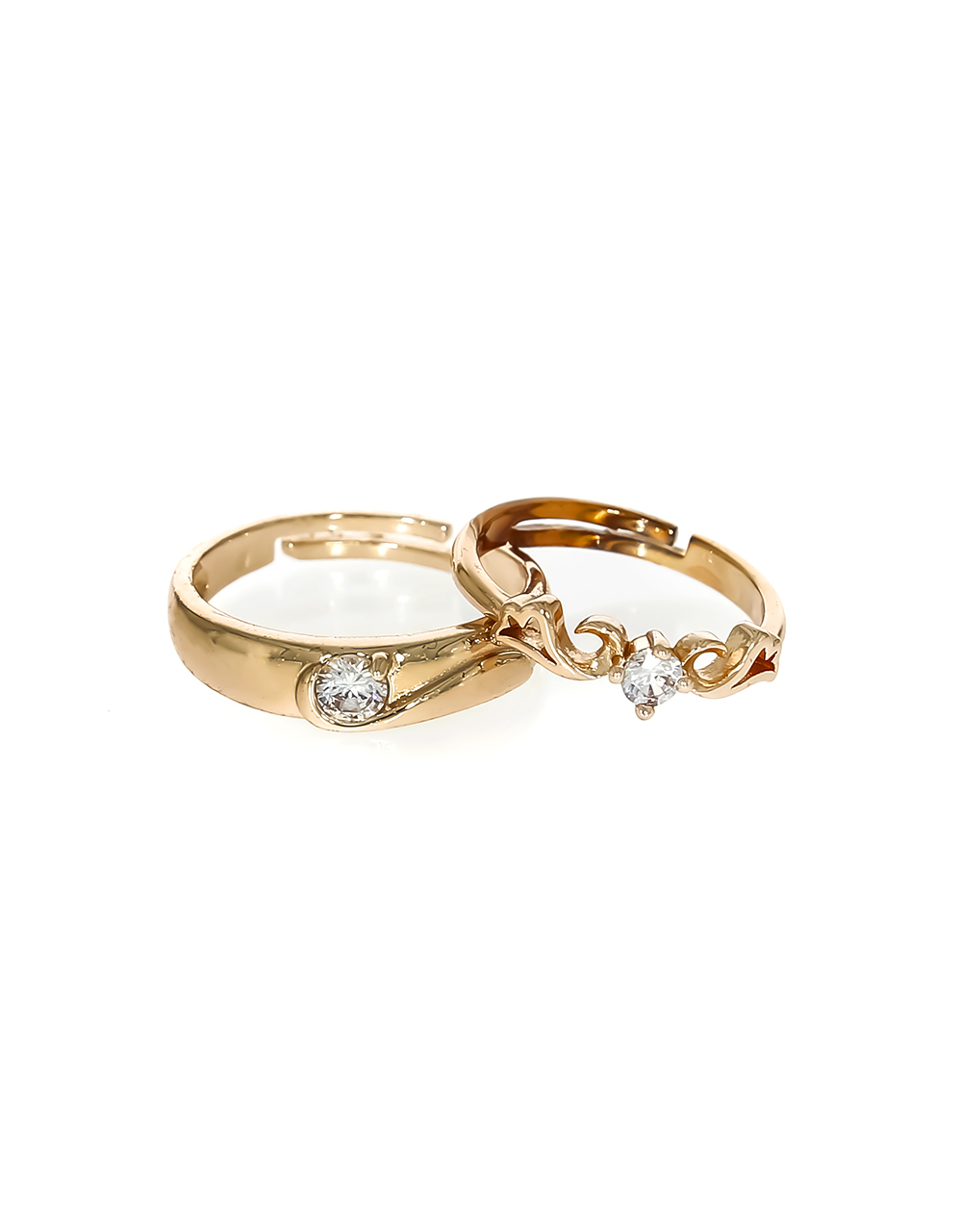 Rose Gold Finish Appealing Couple Rings Styled with Sparkling Stone