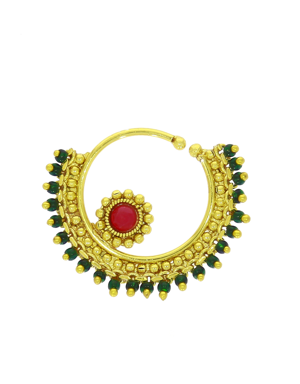Gold Plated Fancy Nose Ring Styled with Green Beads