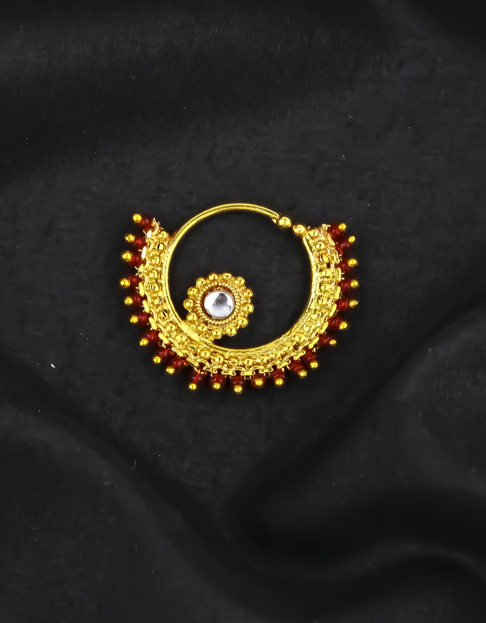 Maroon Colour Beautiful Clip on Nose Ring with Beads