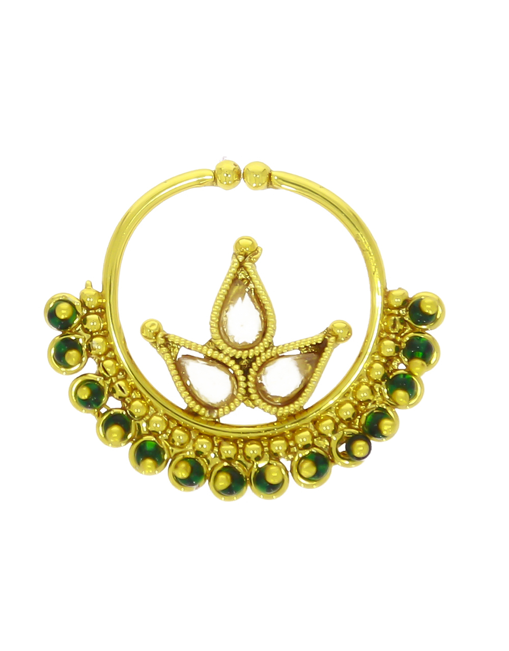Gold Plated Designer Nose Ring  Styled with Sparkling Stones
