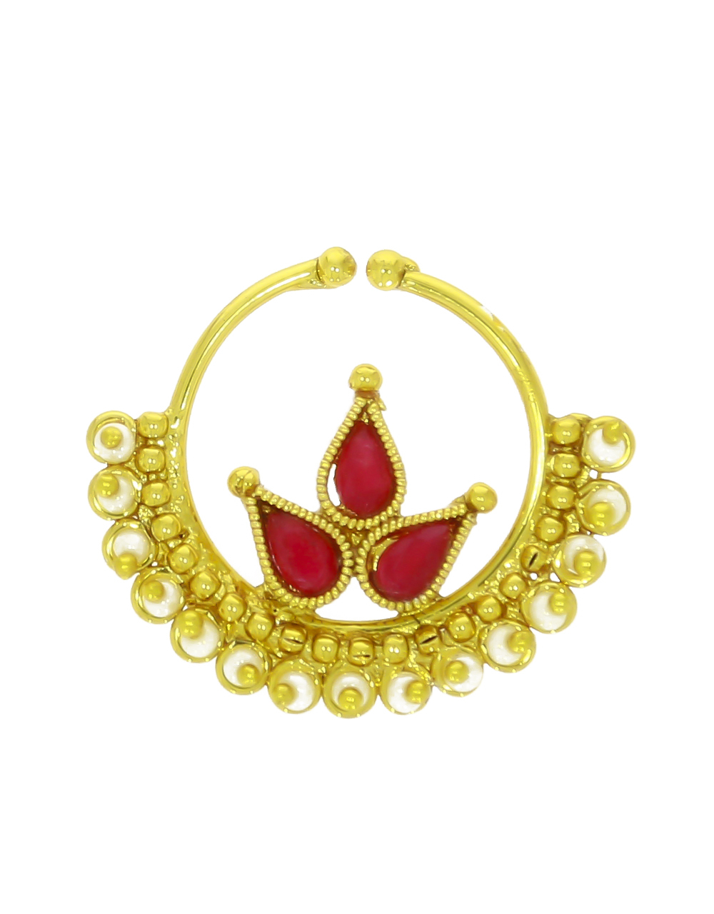 Red Colour Gold Plated Beautiful Nose Ring