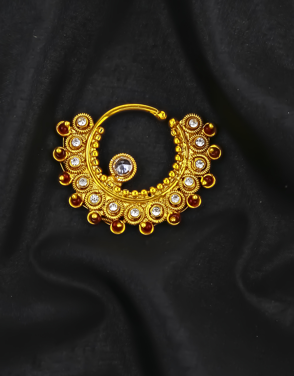Gold  Finish Adorable Nose Ring Embedded with Sparkling Stones