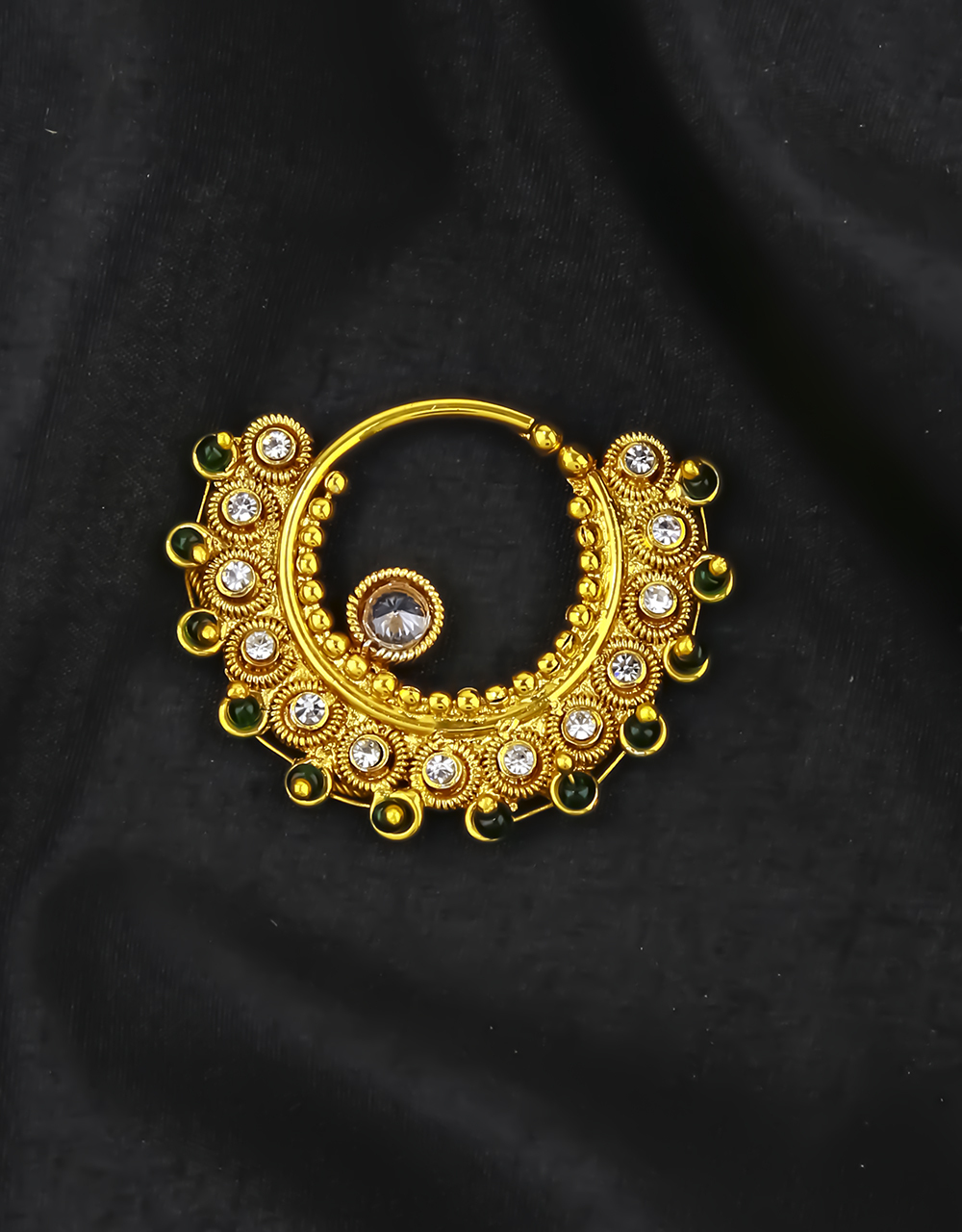 Green Colour  Adorable Bridal Nose Ring Studded with Sparkling Stones