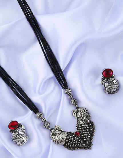 Peacock Design Fancy Long Oxidised Mangalsutra for Women