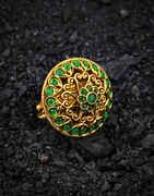 Green Colour Round Shape Adorable Finger Ring for Women